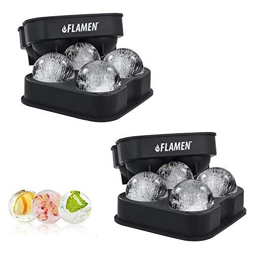 ASPECTEK 2x4 Flamen Runden Eiswürfelform Eiskugelform – BPA freie Silikon-Eisform mit Deckel – formt Runde Eiswürfel mit 4x4,5 cm Durchmesser – Ideal...