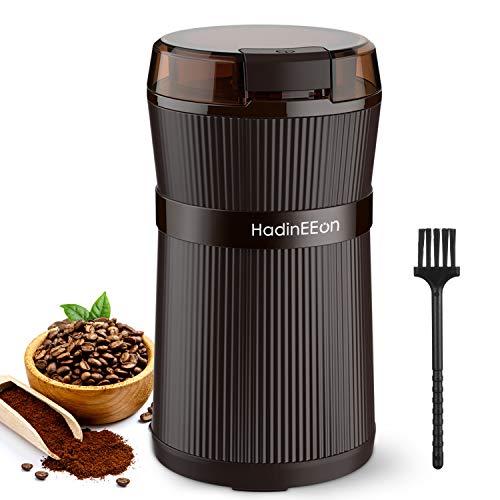 Kaffeemühle Elektrische, HadinEEon 200W Tragbare Waschbare Elektrische Kaffeebohnen und Gewürzmühle mit Edelstahlklingen und Bürste Getreidemühle Grinder...
