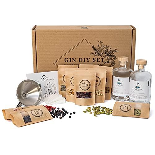 Gin Set zum Selbermachen inkl. Basisalkohol | Das DIY Gin Geschenkset für dein Tasting zu Hause | 10 ausgewählte Botanicals und Gewürze für deinen eigenen...