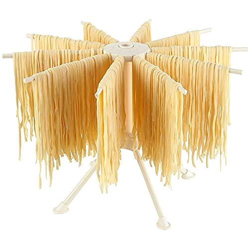 Bugucat Nudeltrockner, Pastatrockner Nudelständer mit 10 Ausziehbare Sprossen für bis zu 2kg Nudeln Tassen Handtücher, Integrierter...