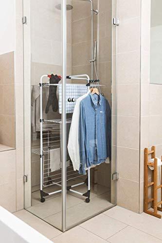 Vileda Mixer 3 Wäscheständer, 30 m Leinenlänge, 3 Ebenen für 3 Waschladungen, Flex-Gelenk, rollbar, Stahl, grau