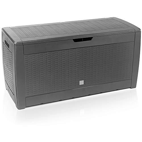 Truhe Rato klappbarer Deckel Stecksystem Haltegriffe Rollen Rattanoptik grau Gartenbox Auflagenbox Kissenbox