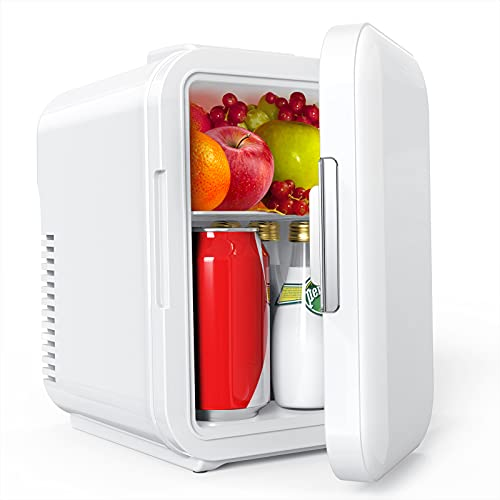 Lifelf Mini Kühlschrank, 4 Liter / 6 Dosen, mobiler Auto Kühlschrank mit Kühl– und Heizbetrieb, AC 220V / DC 12V, 68W Stromverbrauch niedrig, für Auto...