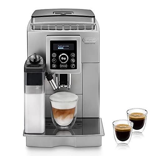 De'Longhi ECAM 23.466.S Kaffeevollautomat mit LatteCrema Milchsystem, Cappuccino und Espresso auf Knopfdruck, Digitaldisplay mit Klartext, 2-Tassen-Funktion,...