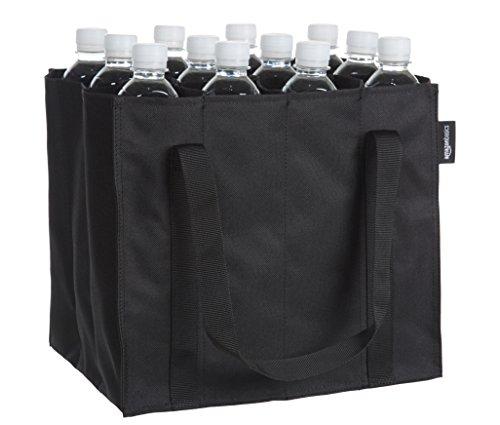 Amazon Basics - Flaschentasche, 12 Fächer, 0,75 l Flaschen, Schwarz