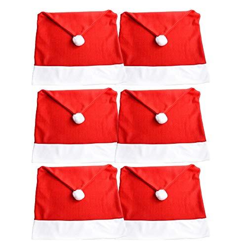 Faung 6stück Weihnachten Deko Stuhlhussen Set - Rot & Weiß für Weihnachts StuhlhussenWeihnachtsbankett Holiday Festival Dekor, 50 cm x 60 cm