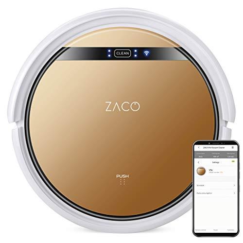 ZACO V5x Saugroboter mit Wischfunktion, App & Alexa Steuerung, 8,1cm flach, automatischer Roboter, 2in1 Wischen oder Staubsaugen, für Hartböden, Fallschutz,...