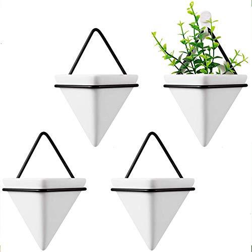 Perfit 4 Stück Wandvasen Set, Keramik Pflanztöpfe Hängepflanztopf für Blumen Sukkulenten Topfpflanze Wanddekor