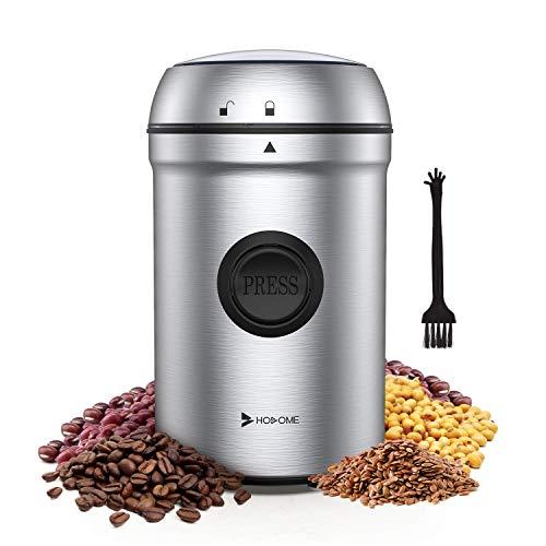 Hosome Kaffeemühle Elektrische, 200W Edelstahl Kaffeemühle, 25000 U/min Leistungsstarker Motor Getreidemühle, mit 304 Edelstahlklingen und Reinigungsbürste,...