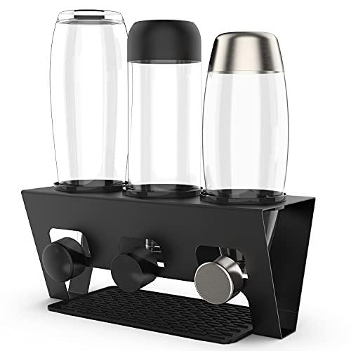 Rainsworth Flaschenhalter kompatibel mit SodaStream Duo und gängige Wasserflaschen, 3er Edelstahl Abtropfhalter, Abtropfständer Abtropfgestell inkl....