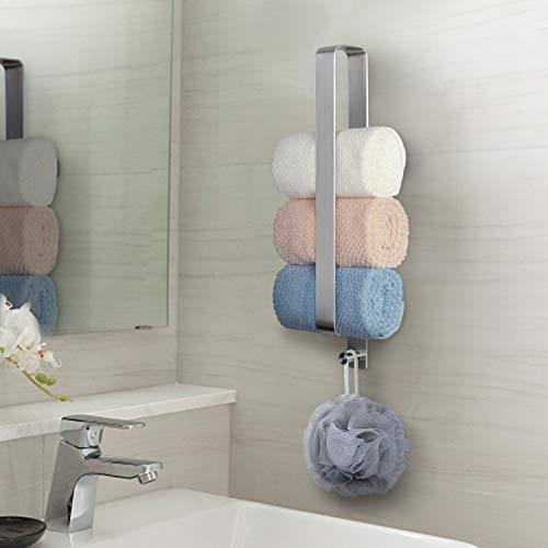 JSVER Handtuchhalter Ohne Bohren Gästehandtuchhalter Selbstklebend Handtuchstange Bad Edelstahl 42 cm mit Haken für Gerollte Gästetücher