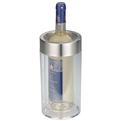 axentia Flaschenkühler transparent, Behälter zum Kühlen von Wein, Sekt, Champagner oder Softdrinks, Getränkekühler doppelwandig, Maße: ca. Ø 12 x H 19.5...
