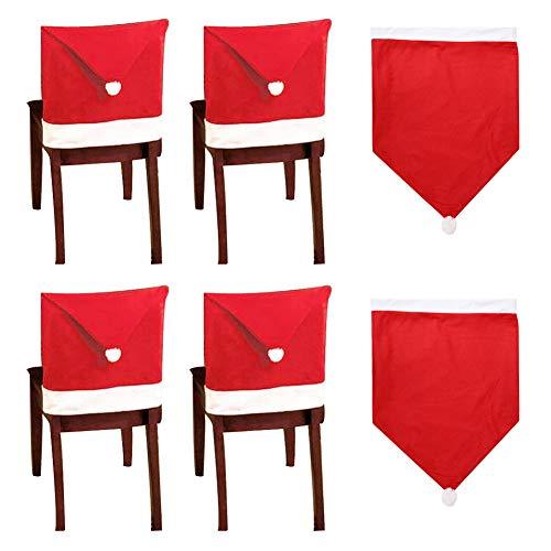 10 Santa Hut Stuhl Bezüge, Rote Hut Stuhl Rückseiten Abdeckungen Küchen Stuhl Abdeckungen Stellt für Weihnachtsfeiertags Festlichen Dekor, Xmas Weihnachten...
