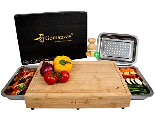 GOMANZAY® | Premium Schneidebrett mit 2 Auffangschalen und 1 Abtropfschale | XXL Bambus Schneidebrett mit Safttrille | Holzbrett mit 3 Schalen | inkl. Bürste...