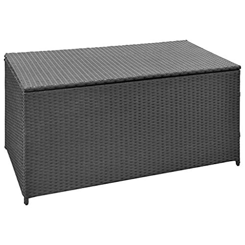 Auflagenbox Kissenbox Gartenbox Gartentruhe Aufbewahrungsbox Auflagentruhe Aufbewahrungstruhe Kissentruhe, mit stabilen Stahlrahmen, 120x50x60 cm Poly Rattan