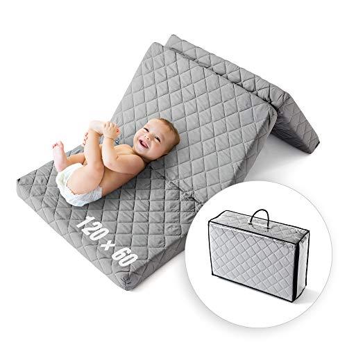 Ehrenkind® Reisematratze Go!   Reisebett Matratze 60 x 120   Babymatratze 60x120cm   FALTBAR, aus hochwertigem Schaum mit waschbarem Hygienebezug in...