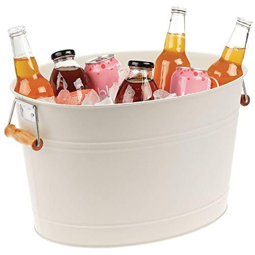 mDesign Flaschenkühler aus Metall – dekorativer Getränkekühler mit Griffen – ideal als Getränkewanne für Wein, Bier, Sekt oder Softgetränke –...