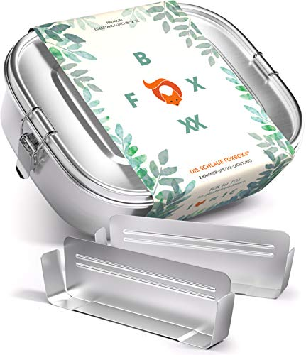 FOXBOXX® Brotdose Edelstahl | Premium | GRATIS  2 Trenner / 3 Fächer | DualCham Dichtung & Smart Clips | Auslaufsichere, umweltfreundliche Lunchbox für...