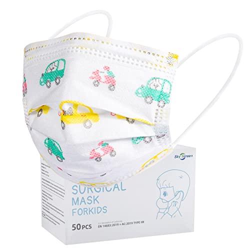 Rousig Kinder Mundschutz 50 Stück TYP IIR 3 Lagig Einwegmasken Kinder CE Zertifizierte Mund Nasen Maske Mädchen Kindermasken