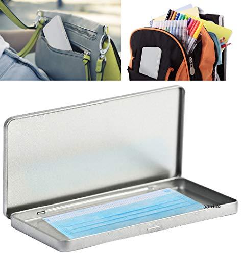1x Aufbewahrungs-Box SILBER 19,0x9,5cm für Mund-Nasen-Abdeckungen, Schokolade, Stifte usw.moderne Box ideal für unterwegs, Shopping, Auto, Kindergarten,...