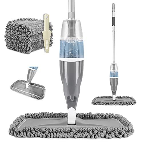 Tencoz Sprühwischer, Wischer mit Sprühfunktion für Schnelle Reinigung, Bodenwischer Spray Mop mit 640ml Wassertank und 3 Wisch Pads 360° Rotieren für...