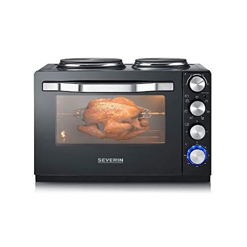 SEVERIN Back- und Toastofen mit Kochplatten, Backofen mit 30 L Garrauminhalt, Minibackofen mit Kochplatten zum Kochen, Grillen und Backen, Gesamtleistung 2500...