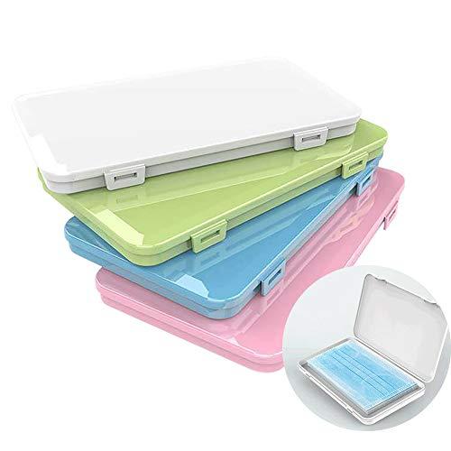 RAYOO Aufbewahrungsbox für Maske,4 PCS Tragbare Flache Kunststoffbox Reinigungsbox Masken-Aufbewahrungstasche Aufbewahrungsclips (Blau,Grün, Pink,Weiß)