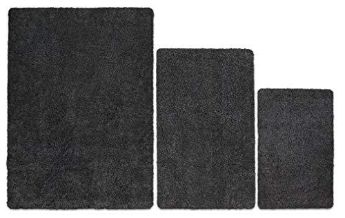 Carpet Diem Premium Fußmatte waschbar aus 100% Baumwolle, sehr saugfähig und flauschig, Schmutzfangmatte in Anthrazit Grau 40x60cm