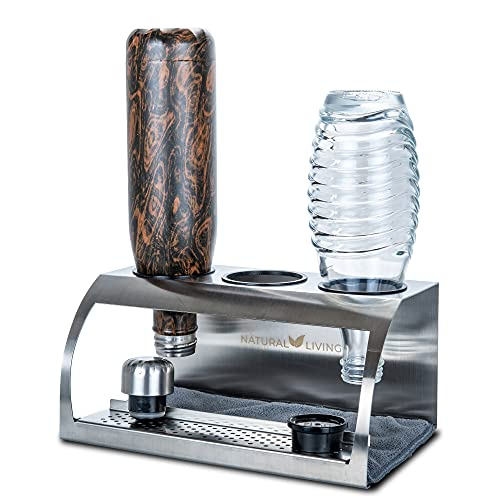 NATURAL LIVING Premium Design Edelstahl Flaschenhalter für SodaStream & S'well Flaschen (3er)