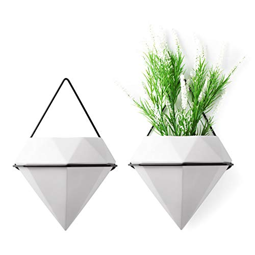 T4U 15cm Diamant Wandvase Keramik Weiß, Geometrische Wandmotage Pflanzgefäß Hängeampeln für Zimmerpflanzen, 2er-Set