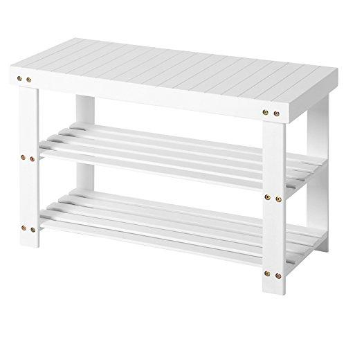SONGMICS Schuhbank aus Bambus, Schuhregal, Schuhschrank mit Sitzbank, 70 x 28 x 45 cm, ideal für Flur, Bad, Wohnzimmer und Diele, weiß, LBS04B