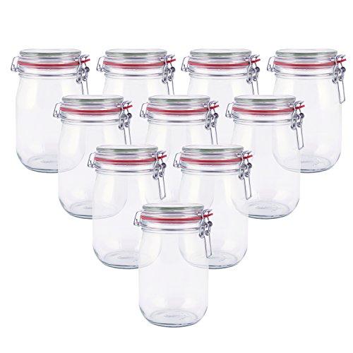 pajoma Drahtbügelglas, 10x 1000 ml Fassungsvermögen inkl. Gummidichtung Einmachglas hergestellt in Deutschland