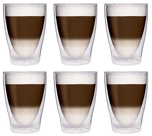 Filosa 6X 280ml XL doppelwandige Latte Macchiato-Gläser/Cocktailgläser/Eistee-Gläser/Saft- und Wassergläser - 6X 280ml edle Thermogläser mit Schwebeeffekt...