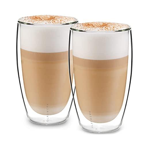GLASWERK Design Latte Macchiato Gläser XXL (2 x 430ml) - extra große Thermogläser aus Borosilikatglas - auch für Longdrinks oder Cocktails geeignet