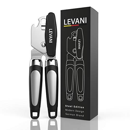 Levani Dosenöffner - Steel Edition - Universal Büchsenöffner aus hochwertigem und rostfreiem Edelstahl - 2 in 1 Dosenöffner Senioren mit...
