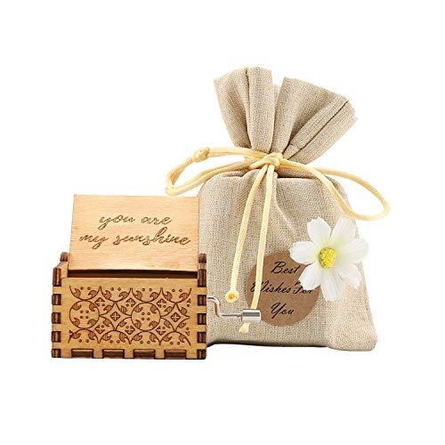 COAWG Hölzerne Spieluhr, You Are My Sunshine Geschnitzte hölzerne Klassische Handkurbel Spieluhr mit Geschenksäckhe für Heimdekoration, Basteln, Geburtstag...