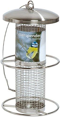 dobar 10041 Futterspender für Vögel mit Anflugringen, Futterstation-Futtersäule für Wildvögel, 14 x 14 x 26 cm, Metall