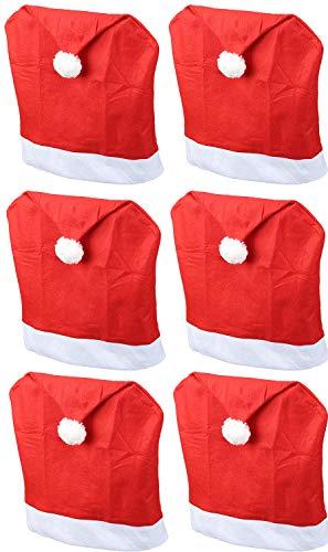 Novaliv Weihnachten Stuhlhussen 6er Set I Rot I Nikolausmütze I Stuhlbezüge Esszimmer Weihnachtsdeko Weihnachtsmütze Sesselüberzug Husse für Schwingstuhl