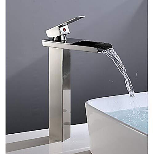 Fass Koco Moderne Waschbecken Wasserhahn - Wasserfall Nickel Gebürstet Einhand EIN Hahn/Messing