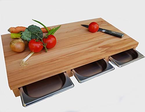 Küchenbrett KERNBUCHE Massivholz mit 3X Auffangschublade 61,5 x 32,5 x 7cm Holzbrett Servierbrett Küche Brett Käsebrett Edelstahlschale Schneidebrett...