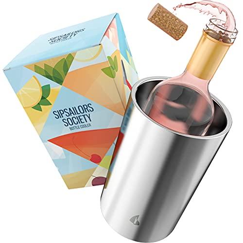 Sipsailors Flaschenkühler aus Edelstahl - Doppelwandiger Weinflaschenkühler als Wein-, Sekt- und Prosecco Kühler in bunter Party Geschenk Verpackung