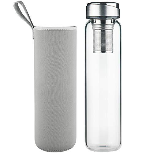 DEARRAY Glas Teeflasche für unterwegs mit Edelstahl Sieb 1000ml / 1 Liter, Teekanne mit Filter to go, Borosilikatglas Wasserflasche mit Neoprenhülle und...