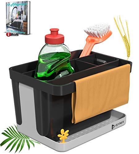 Luamex® Spülbecken Organizer aus Weizenstroh – Abtropfbehälter - Küchen Organizer - Ordnungshelfer Spülbecken – Utensilienhalter Küche –...