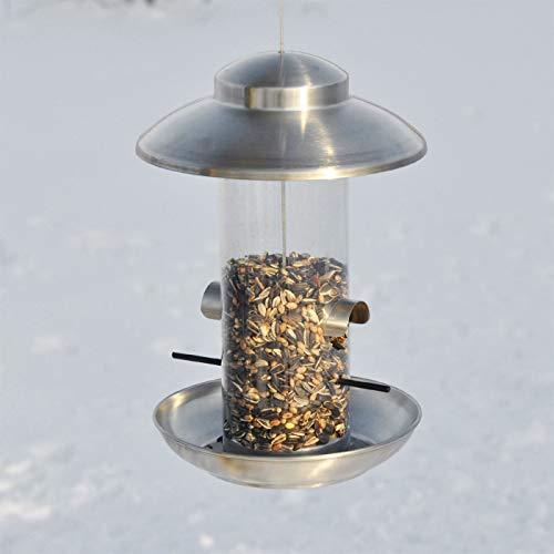 VOSS.garden Dänisches Vogelhaus Smøllebird, Edelstahl Dach mit Kunststoffröhre, Wetterbeständig, zum Aufhängen, Vogelfutterstation Vogelfutterspender...