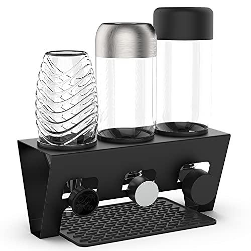 Rainsworth Flaschenhalter kompatibel mit SodaStream und gängige Wasserflaschen, 3er Edelstahl Abtropfhalter, Abtropfständer Abtropfgestell inkl....