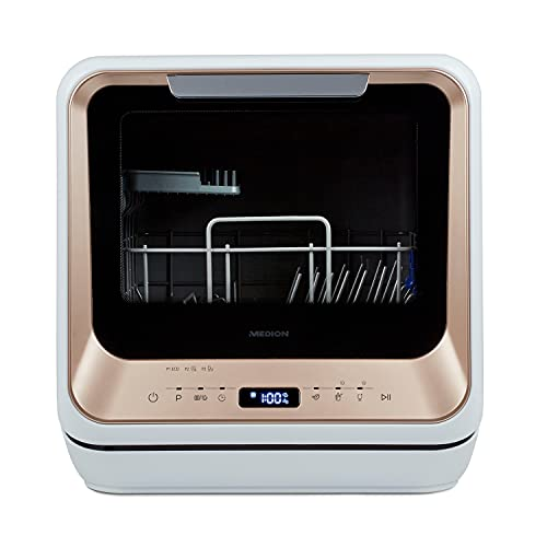 MEDION Mini Geschirrspüler (Tischgeschirrspüler, Spülmaschine, 2 Maßgedecke, funktioniert mit/ohne Wasseranschluss, 6 Reinigungsprogramme, für...