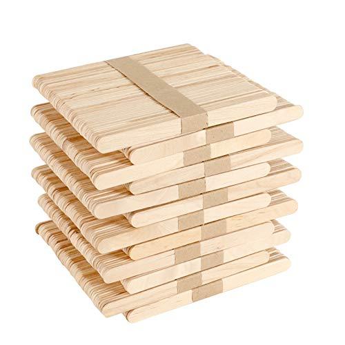 GoMaihe 600 Stück Eisstiele aus Holz, Holzspatel Basteln, Holzstäbchen zum Basteln Umrühren Holzstiele für EIS Holzstab Stiele, Holzspatel Wachs...