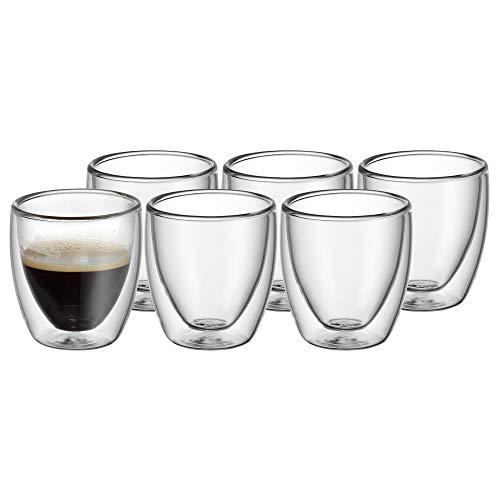 WMF Kult doppelwandige Espressotassen Glas Set 6-teilig, doppelwandige Gläser 80ml, Schwebeeffekt, Thermogläser, hitzebeständiges Espresso Glas