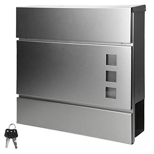 ECD Germany Moderner Design Briefkasten mit Zeitungsfach und Sichtfenster 37 x 10,5 x 36,5 cm aus Edelstahl Silber inkl. 2 Schlüssel, Montagematerial -...