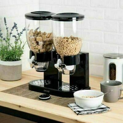 RHP - Müslispender/Cerealienspender/Cornflakesspender/Doppel-Spender für Müsli, Cornflakes und Cerealien - Schwarz